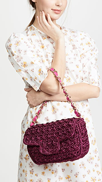 Caterina Bertini Металлизированная связанная крючком сумка на ремне