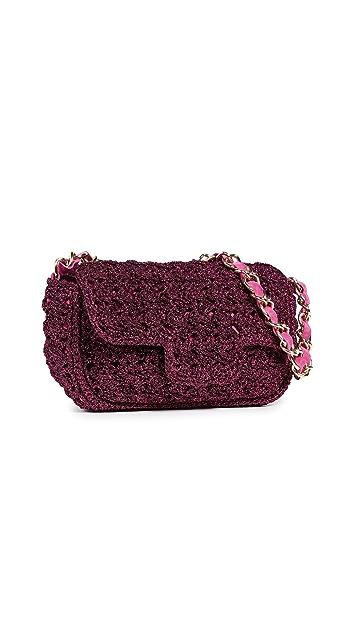Caterina Bertini Metallic Crochet Shoulder Bag