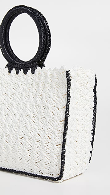 Caterina Bertini Woven Tote Bag with Structured Handles