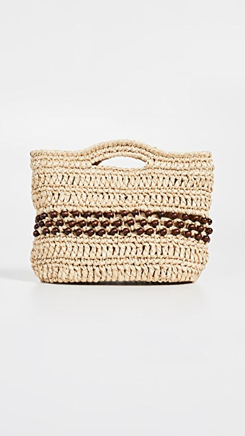 Caterina Bertini Woven Clutch with Wood Beads