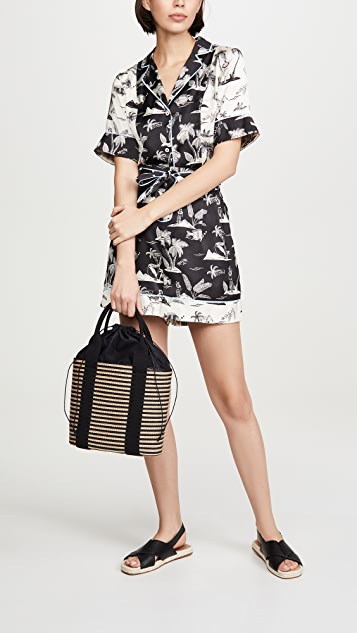 Caterina Bertini Объемная сумка из ткани с короткими ручками