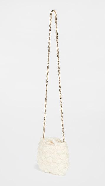 Caterina Bertini White Mohair Crossbody Bag