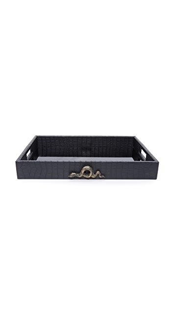 Carla Carstens Noir Croc Small Tray with Handles