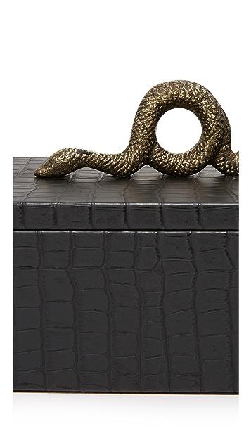 Carla Carstens Noir Croc Small Rectangular Box