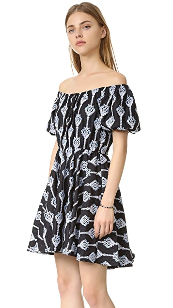 Caroline Constas Bardot Embroidered Dress