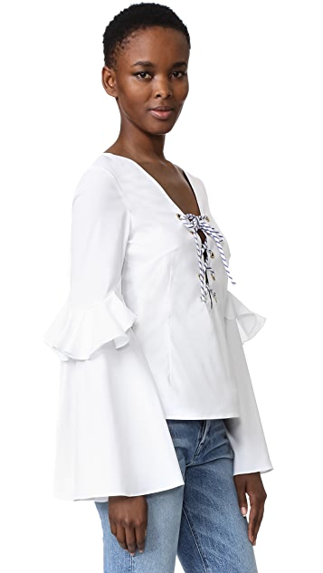 Caroline Constas Anastasia Lace Up Blouse