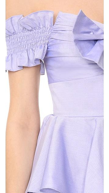Caroline Constas Платье Helena из ткани шамбре