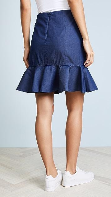 Caroline Constas Ruffle Denim Mini Skirt
