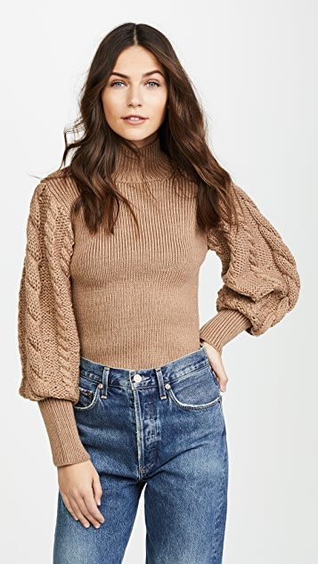 Caroline Constas Chunky Cable Knit Sweater - Camel