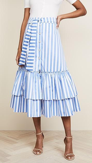 Caroline Constas Tie Midi Ruffle Skirt