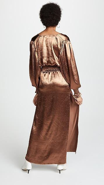 Caroline Constas Smocked Waist Gown