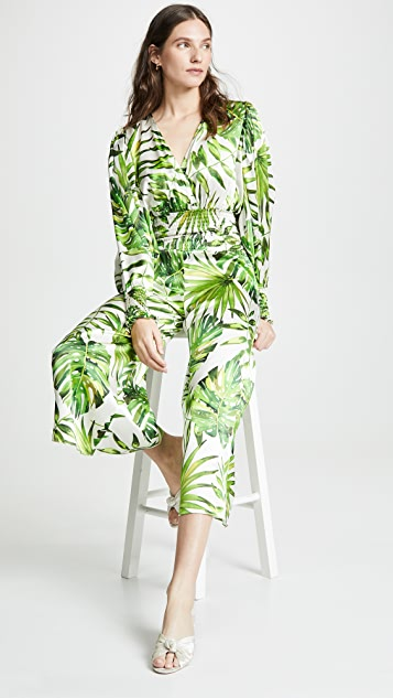 Caroline Constas Cropped Smocked Waist Jumpsuit