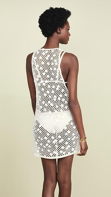 Caroline Constas Связанное крючком пляжное платье без рукавов