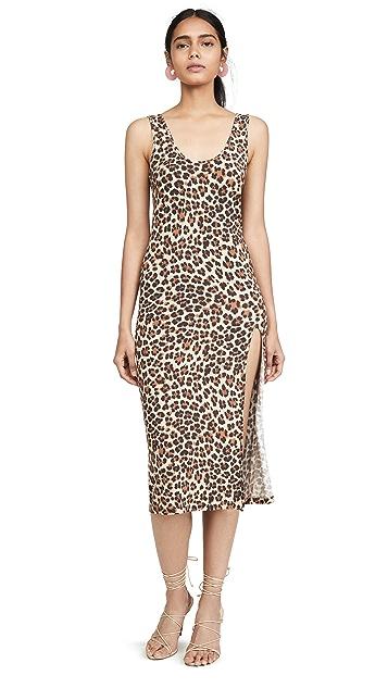 Caroline Constas Платье без рукавов с леопардовым принтом