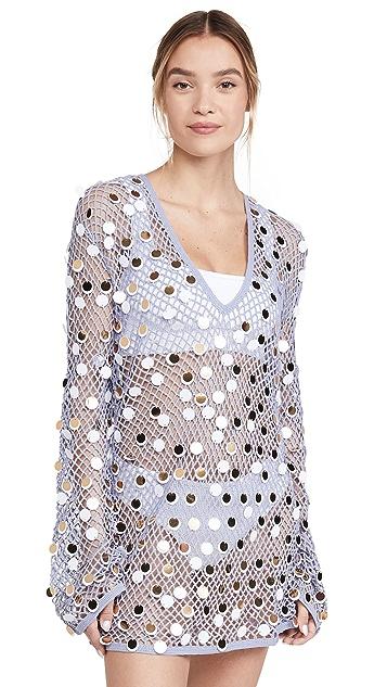 Caroline Constas Long Sleeve Crochet Cover Up