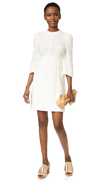 Derek Lam 10 Crosby Embroidered Dress with Puff Shoulders