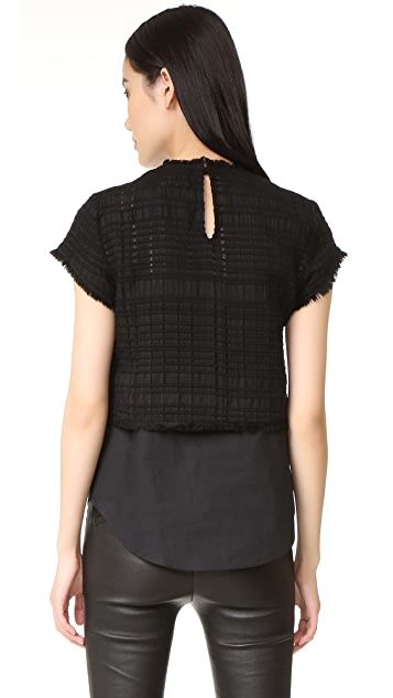 Derek Lam 10 Crosby Short Sleeve 2 in 1 Top