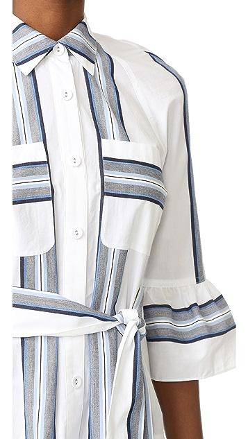 Derek Lam 10 Crosby Button Down Ruffled Hem Shirtdress