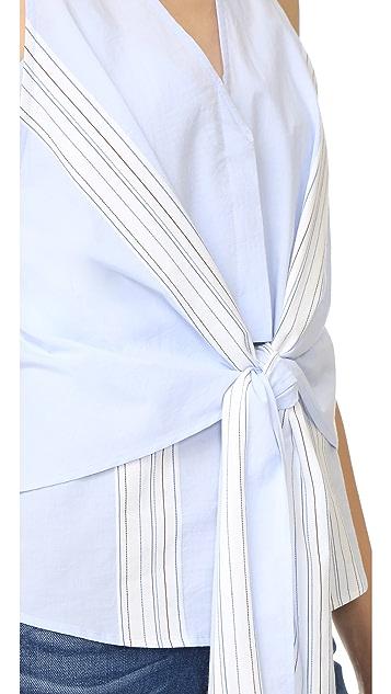 Derek Lam 10 Crosby Sleeveless Tie Front Top