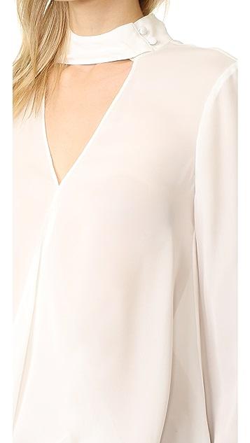 Derek Lam 10 Crosby Long Sleeve Blouse with Collar Detail
