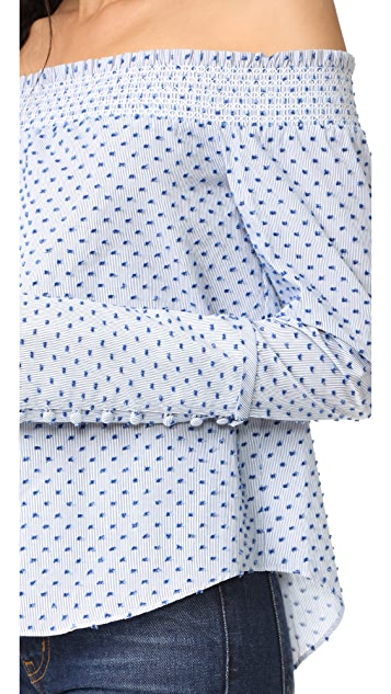 Derek Lam 10 Crosby Long Sleeve Off The Shoulder Shirt