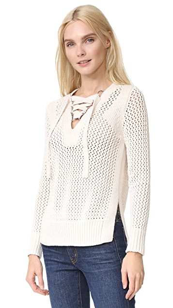Derek Lam 10 Crosby Lace Up V Neck Sweater