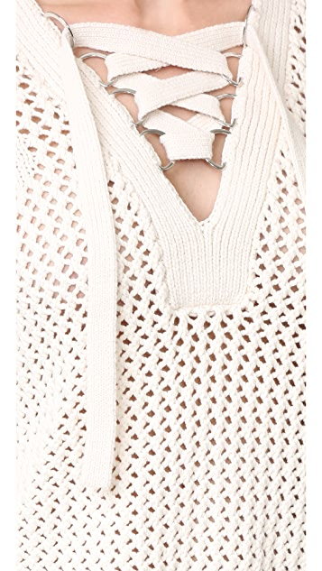 Derek Lam 10 Crosby Lace Up V Neck Sweater