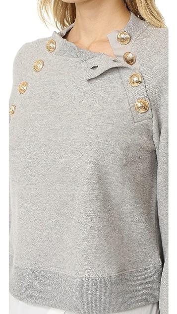 Derek Lam 10 Crosby Long Sleeve Sweatshirt with Button Detail