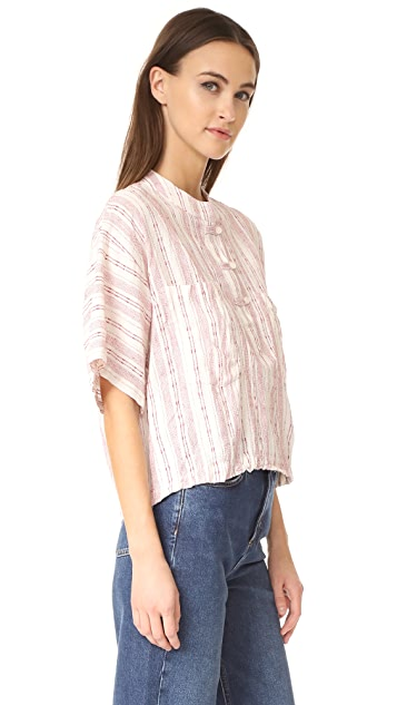 Derek Lam 10 Crosby Collarless Henley Shirt