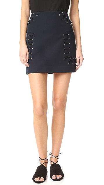 Derek Lam 10 Crosby Miniskirt with Grommet & Lacing