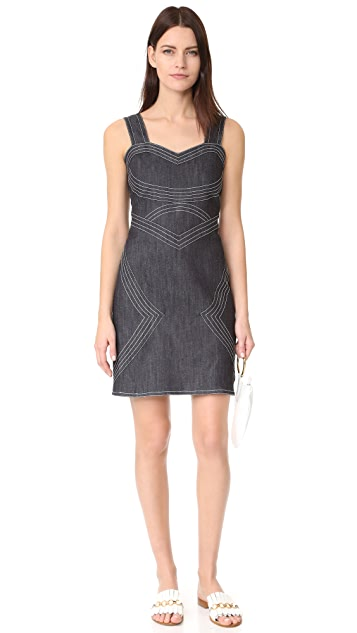 Derek Lam 10 Crosby Raw Denim Sleeveless Fitted Dress