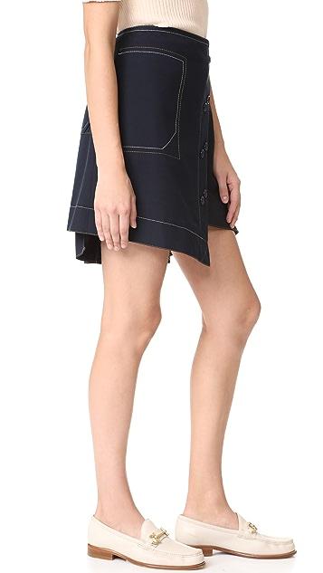 Derek Lam 10 Crosby A-Line Skirt with Poplin Combo
