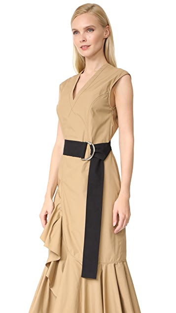 Derek Lam 10 Crosby Sleeveless Ruffle Hem Dress