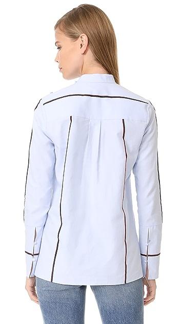 Derek Lam 10 Crosby Ruffle Front Shirt