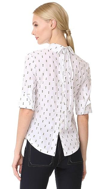 Derek Lam 10 Crosby Tie Back Shirt with Button Detail