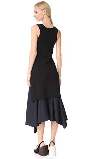 Derek Lam 10 Crosby V Neck Knit Dress with Poplin Hem