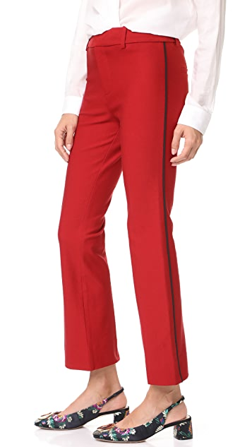 Derek Lam 10 Crosby Cropped Flare Trousers with Tuxedo Piping Detail