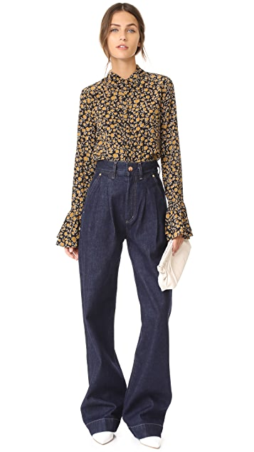Derek Lam 10 Crosby Button Down Shirt with Ruffle Cuffs
