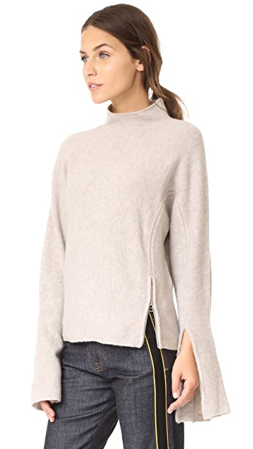 Derek Lam 10 Crosby Mockneck Sweater with Slit Detail