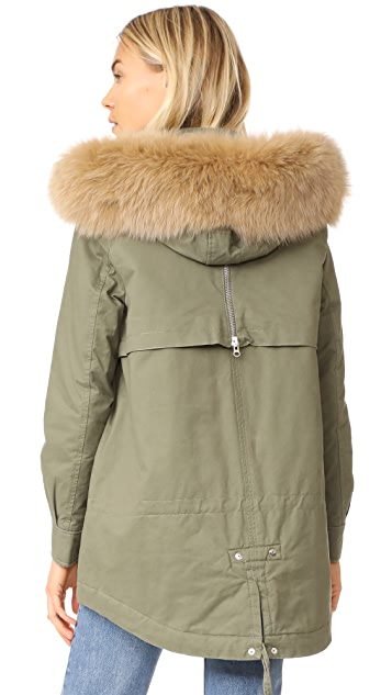 Derek Lam 10 Crosby Fox Trimmed Parka with Inside Quilting