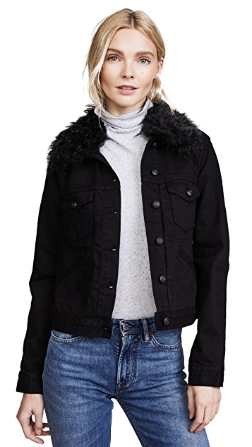 Derek Lam 10 Crosby Toby Classic Jean Jacket with Shearling Collar