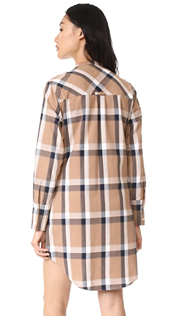 Derek Lam 10 Crosby Collarless Tie Waist Shirtdress