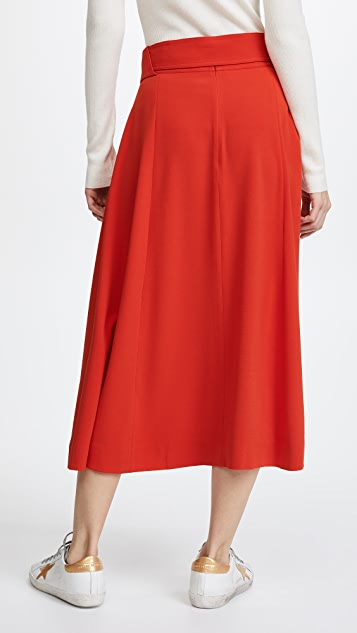 Derek Lam 10 Crosby Belted Midi Skirt with Slits