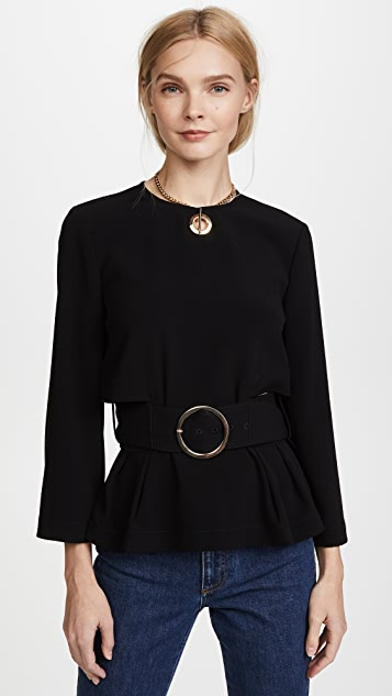 Derek Lam 10 Crosby Long Sleeve Belted Top