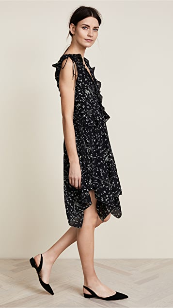 Derek Lam 10 Crosby Sleeveless V Neck Ruffle Dress
