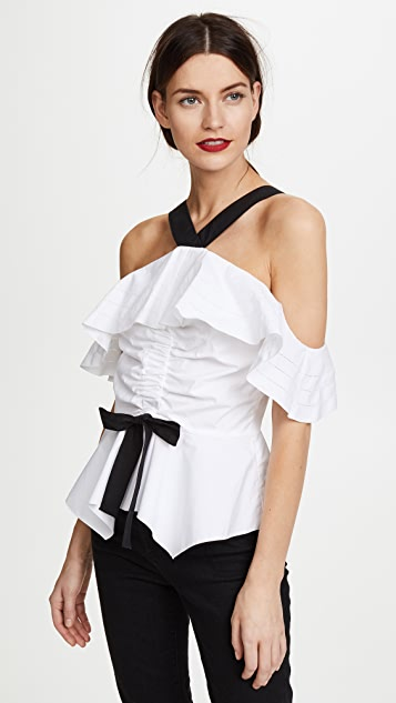 Derek Lam 10 Crosby Off Shoulder Halter Ruffle Top