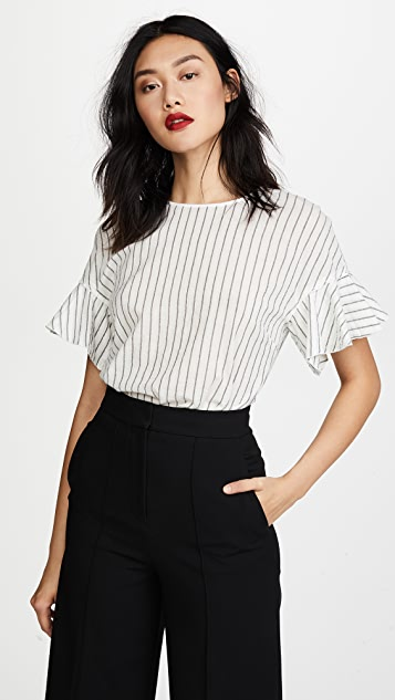 Derek Lam 10 Crosby Ruffle Sleeve Top - Off White