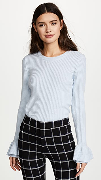 Derek Lam 10 Crosby Sweater With Ruffle Sleeves
