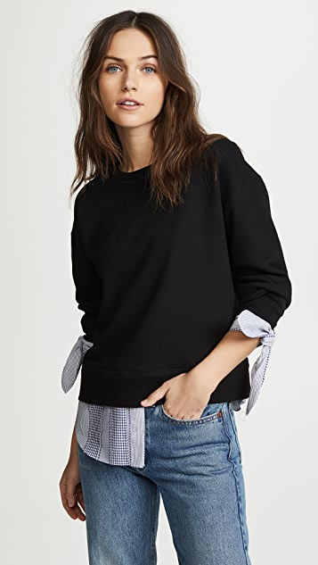 Derek Lam 10 Crosby Sweatshirt with Shirting Detail