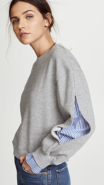 Derek Lam 10 Crosby Sweatshirt with Shirting Inset
